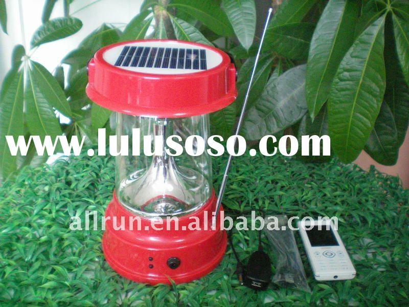 2012 new design Super bright solar lantern with radio and phone charger