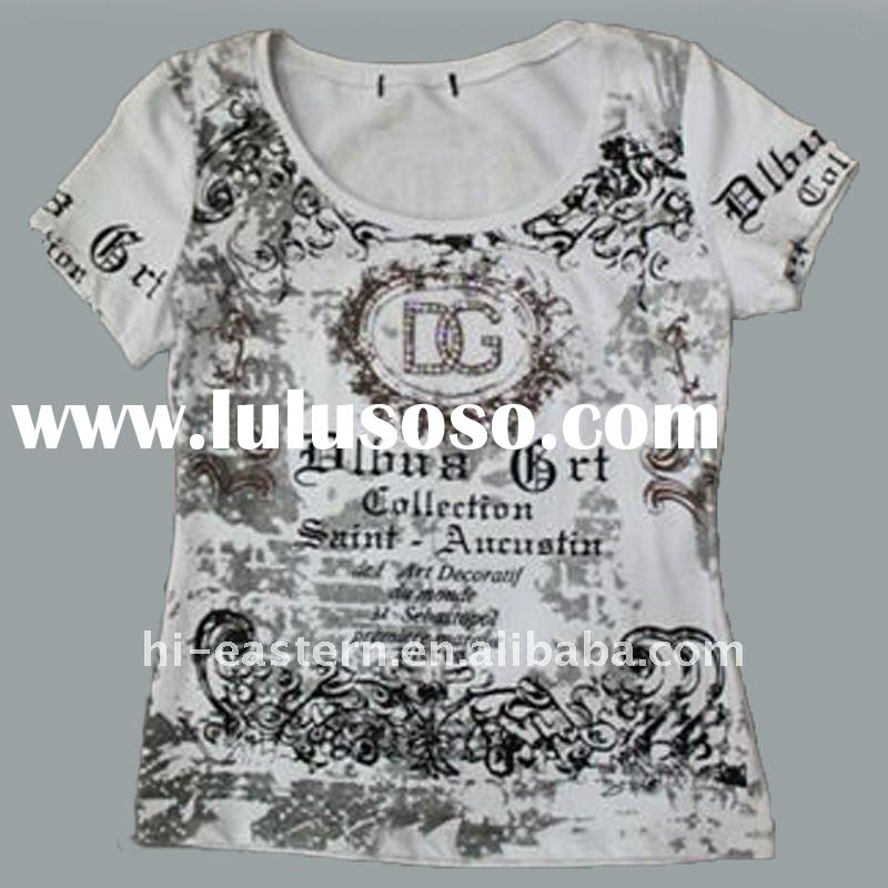 2012 new fashion style short sleeve round neck t-shirt/ ladies t shirt