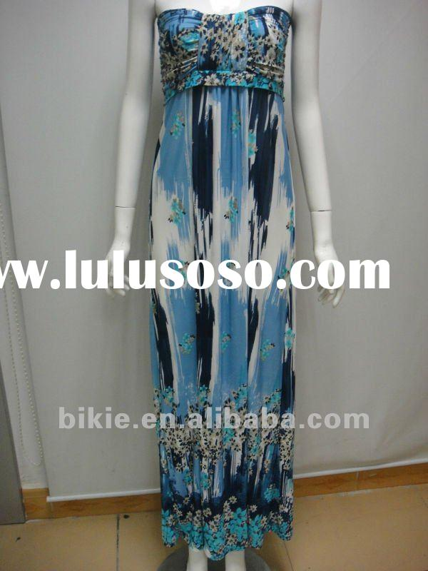 2012 newest fashion style printing off-shoulder maxi dress for lady/women