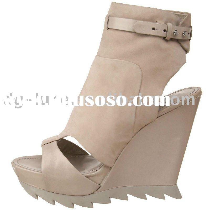 2012 spring/summer wedge/high heel nubuck leather handmade ladies shoes