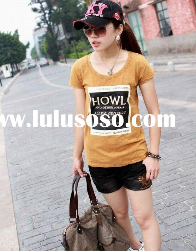 2012 summer lady fashion plain cotton t-shirts plain printing in guangzhous