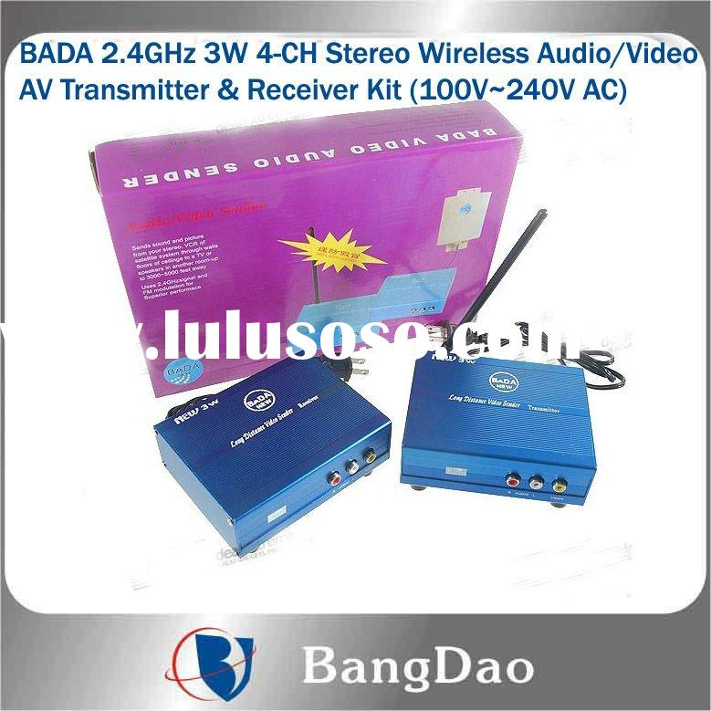 3000mW High Power 2.4GHz 4-CH Wireless Audio/Video AV Transmitter and Receiver with Interference Res