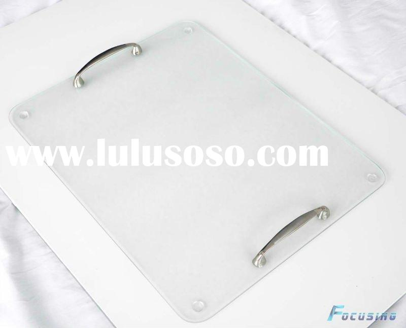 30x40cm multifunctional and practical plain tempered glass serving tray