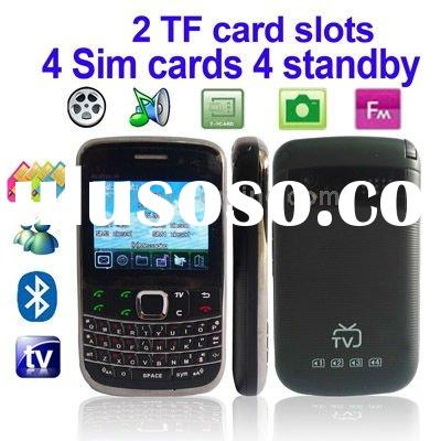4 Sim cards 4 standby, Support 2 TF Card slots, Dual Camera Mobile Phone