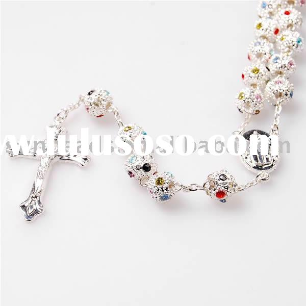 6/8mm Filigreed Rosary With Swarovsk Crystal Beads and Sterling Silver Links,Rosary beads