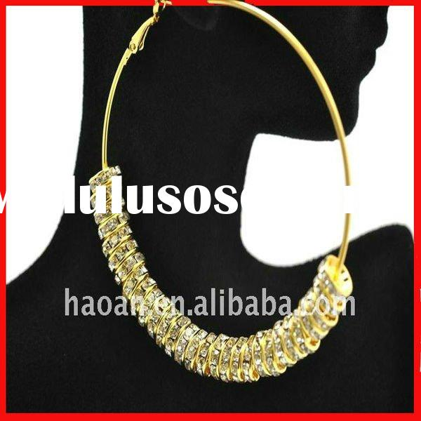 70mm gold plated hoop New Bling Gold Hoops Rhinestone basketball wives earring beads(EB-0001)