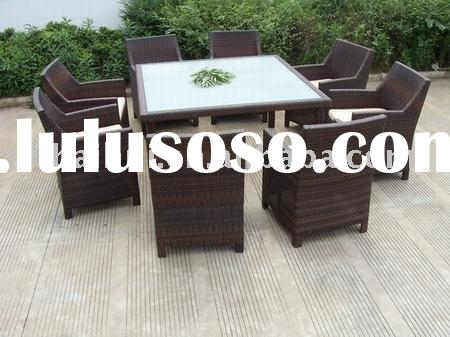 8 seater outdoor rattan dining table and chairs
