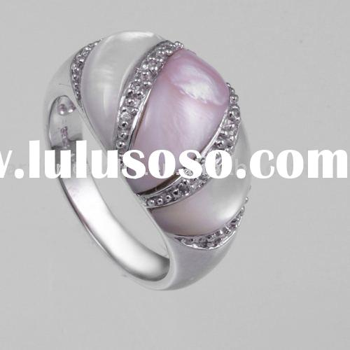 925 Silver Jewelry Inlaid with Shell or pearl/hand made rings/shell rings