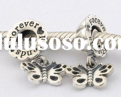 925 Sterling Antique Silver With Butterfly Circular Beads