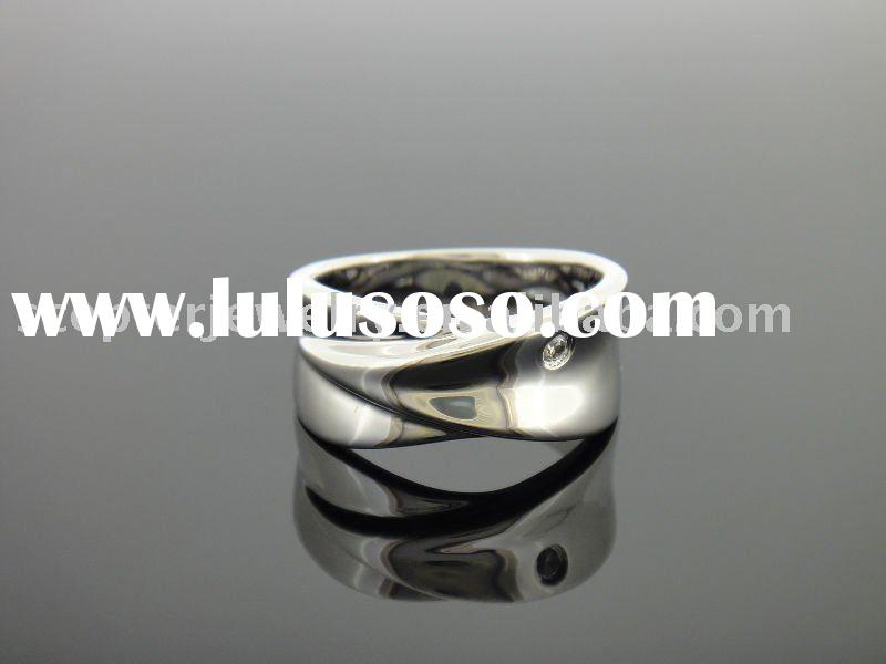 925 Sterling Silver Cross Over Double Ring