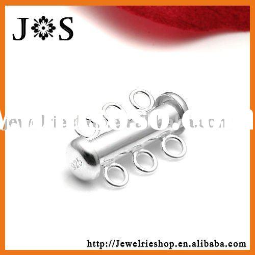 925 Sterling Silver Jewelry Tube Clasp With 3 Strand Slide Lock 20*4mm