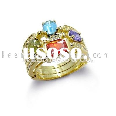 925 sterling silver jewerly with Gold-plated, silver ring.