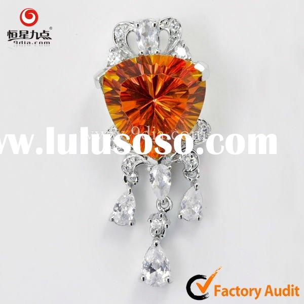 925 sterling silver pendant jewelry Necklace with Orange quartz gemstone