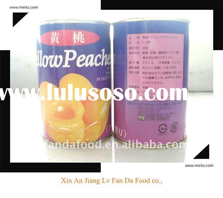 A10 canned yellow peach halves in light syrup