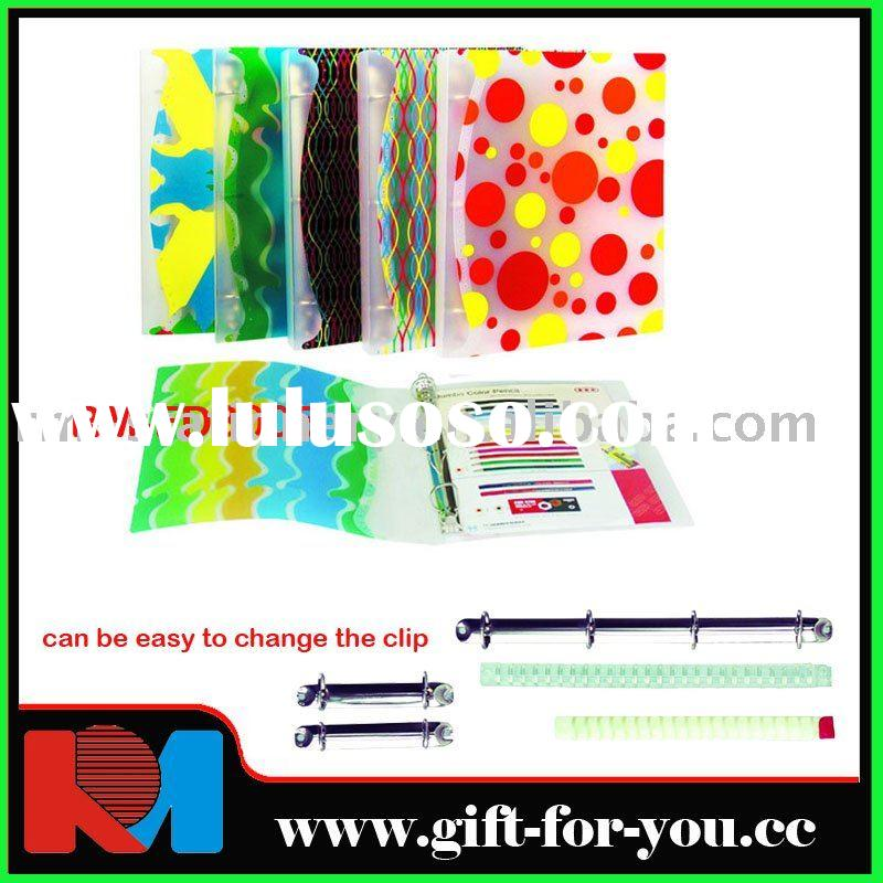 A4 printed PP 3D ring binder with pocket