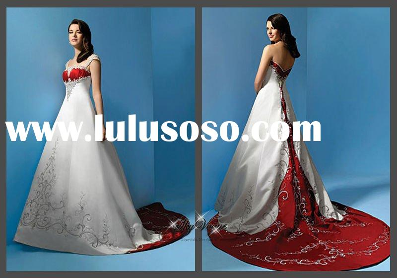 AA1193*Strapless red and white wedding dresses