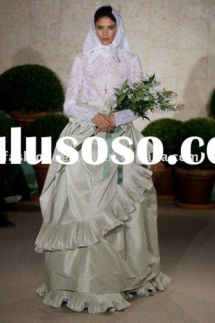 AH031 2011Newest High neck long sleeve lace and taffeta designer wedding dress