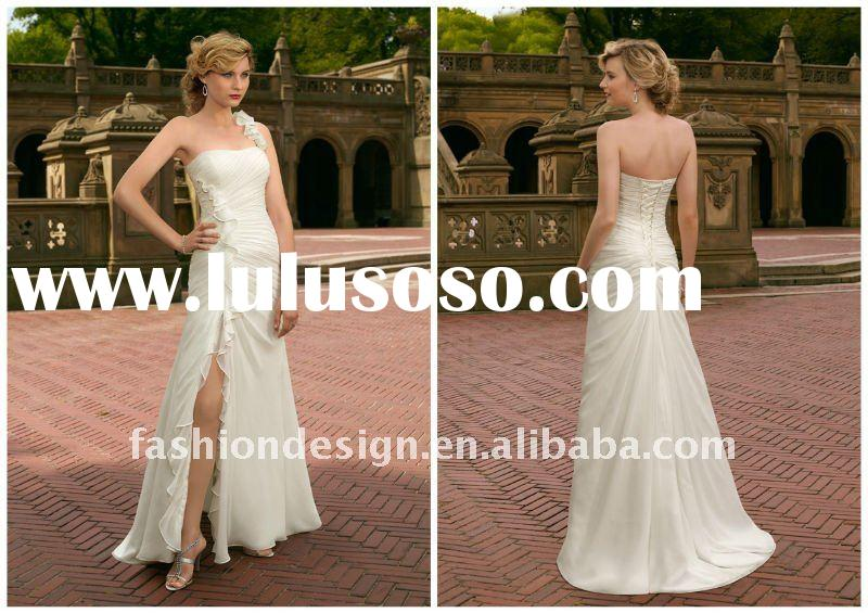 AH400 Newest strapless chiffon ankle-length custom made wedding dress