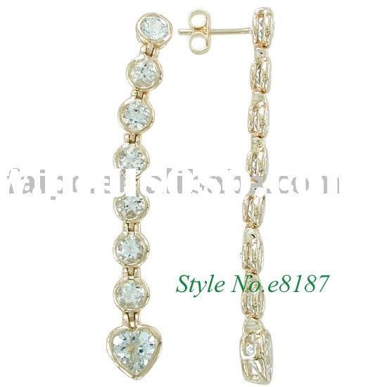 AQUAMARINE EARRING 925 sterling silver/9k/10k/14k/18k yellow/white/pink gold earring