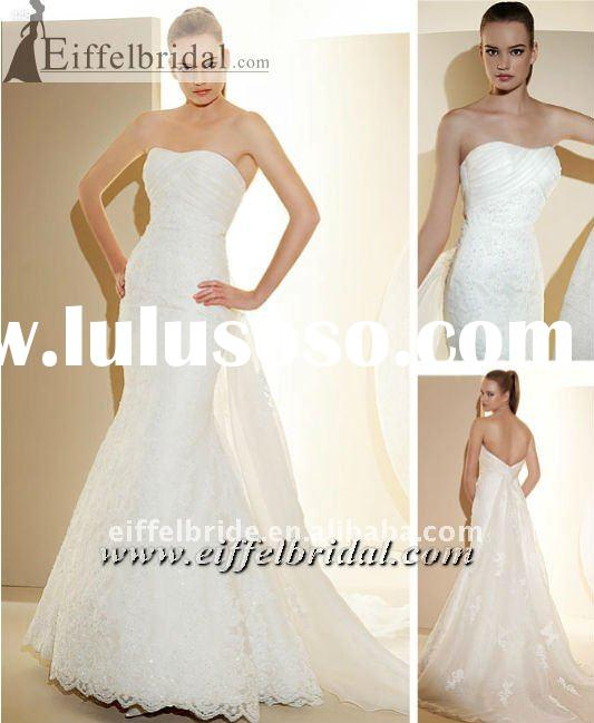 AT-2084 Discount high quality strapless sleeveless lace beaded mermaid wedding dress