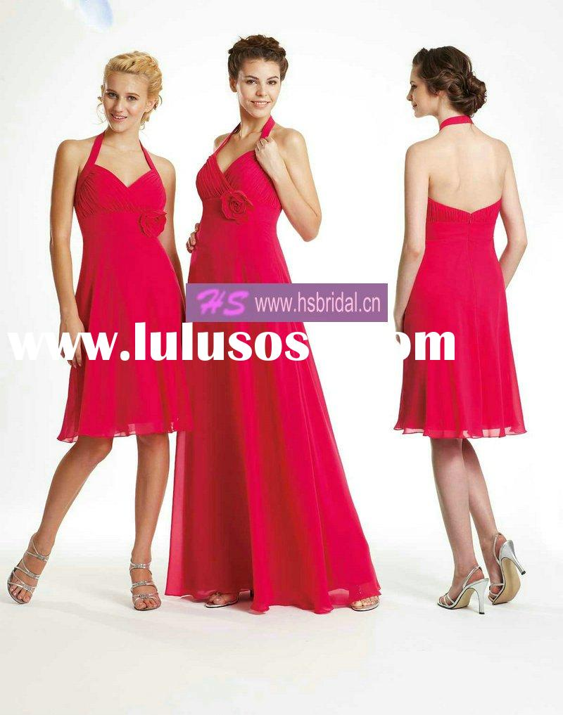 A-line Halter Chiffon Knee-length or Ankle-length Red Bridesmaid Dresses Cheap