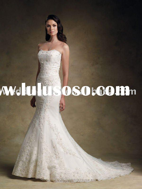 A-line strapless white lace wedding gown-sqsm122