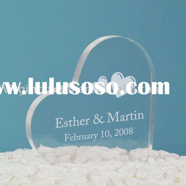 Acrylic Clear Heart-shape Engraved Cake Topper Wedding Favor