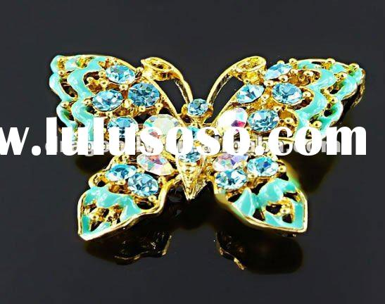 Alloy Rhinestone 24K Gold Plated Butterfly Fashion Brooches