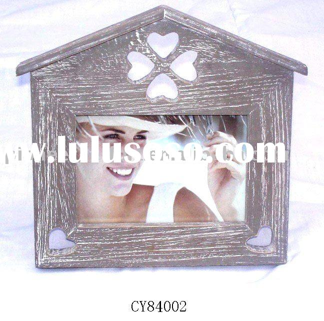 Antique wooden photo frame for home decoration, house shape
