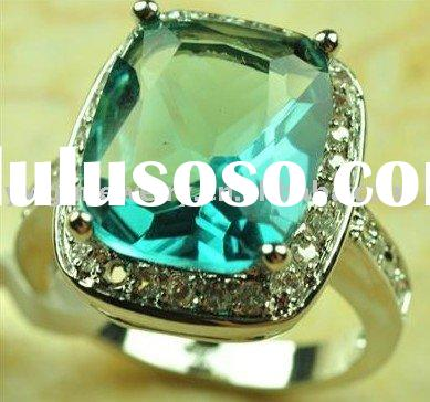 Aquamarine Quartz 925 Sterling Silver Gemstone Ring