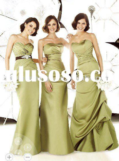 BD368 2011 new models stylish satin green bridesmaid dresses