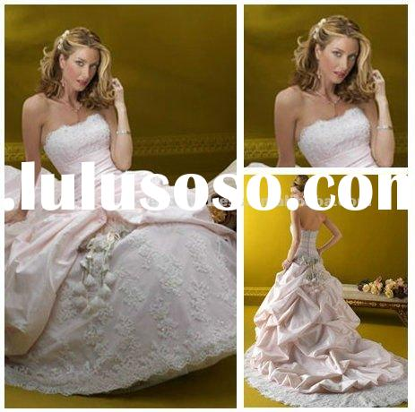 Ball Gown Taffeta Lace Vintage Pink Wedding Dress 2011