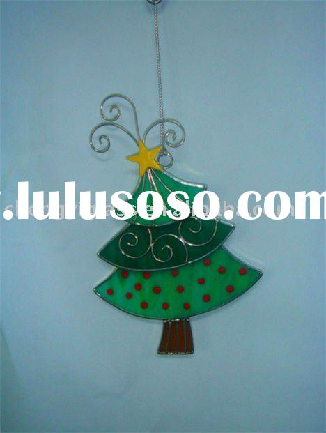 Beautiful Stained Glass Christmas Tree Hanging Ornament