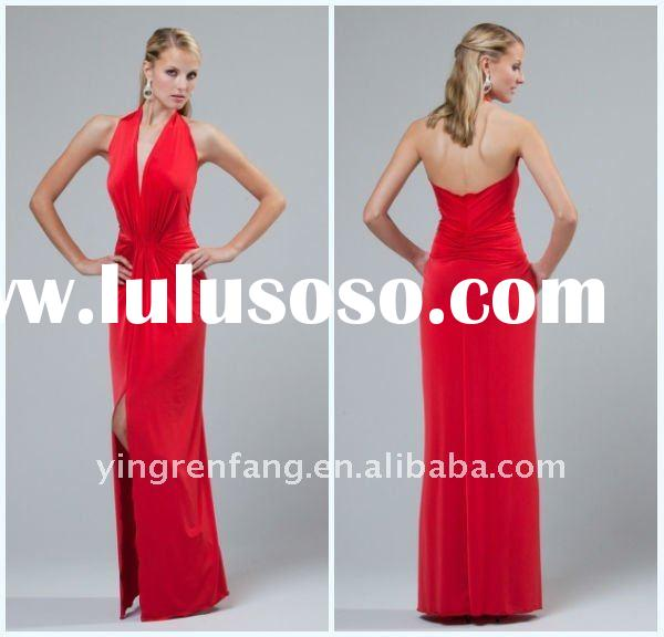Best Price High Quality Halter Sash Red Party Dresses Satin Ruffle Ankle Length jovani prom dresses