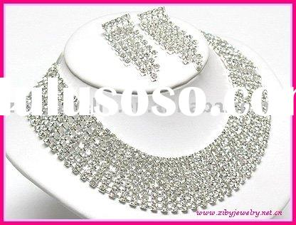 Boutique style 7 line rhinestone necklace and earring set