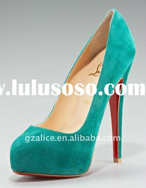 CL0144 New style red sole high-heel shoes,suede leather dress shoes light blue