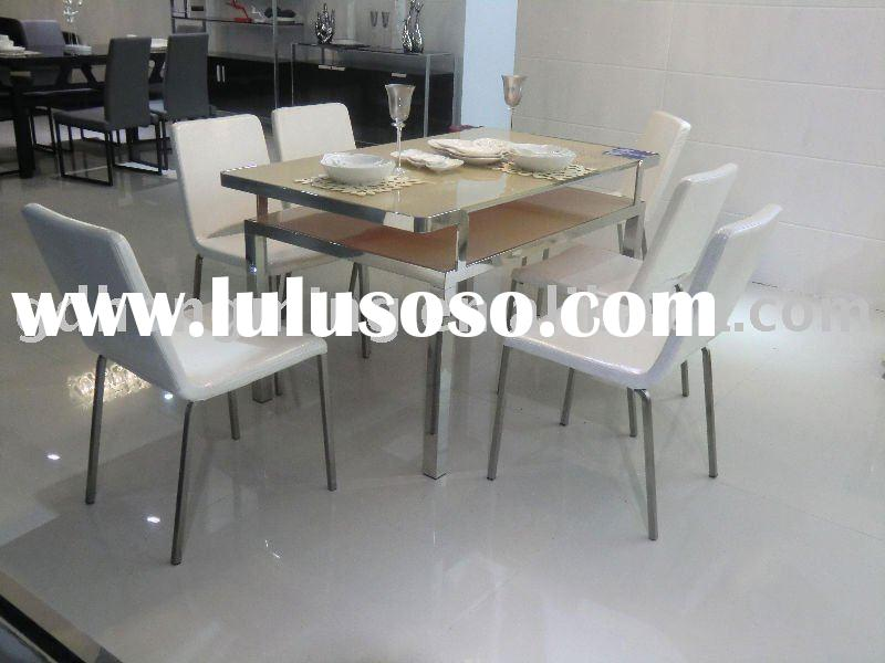 CT178&CY100B 2011 Contemporary stainless steel base tempered glass dining table metal furniture