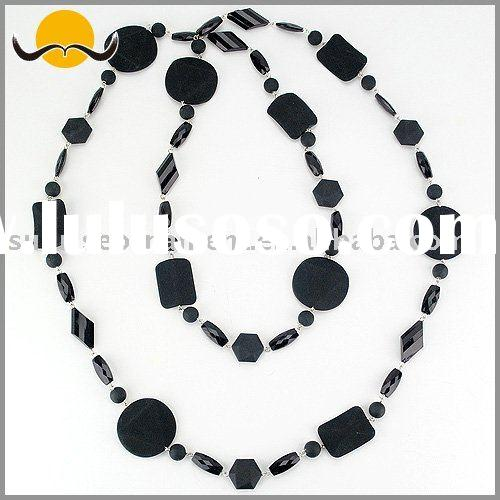Charm Round & Rectangle Bead Chain Necklace Jewelry