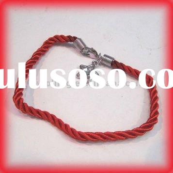 Children jewelry Red rope Lucky bracelet with alloy charm rhinestone inlay