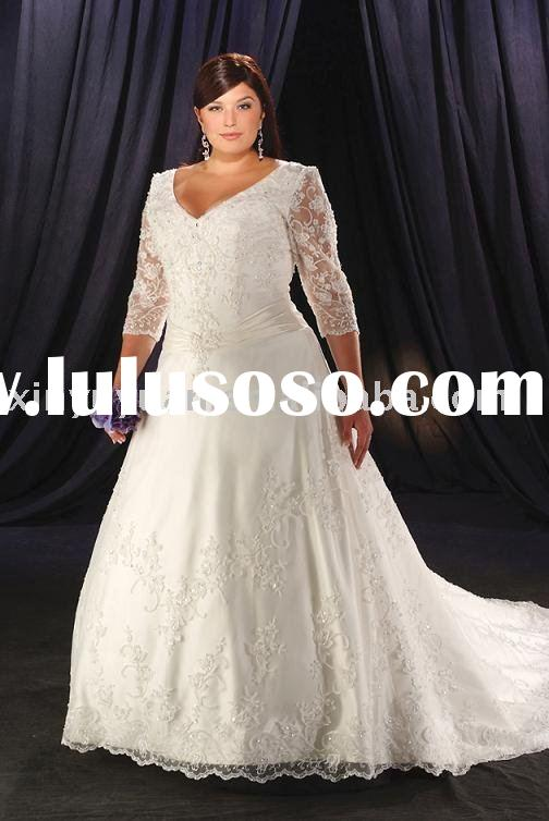 China plus size custom long sleeves tulle wedding dresses BPW-021