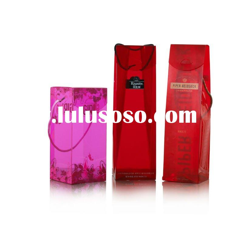 Clear Plastic Red/Pink Red Wine Packaging Bags/Packaging Boxes With Handle