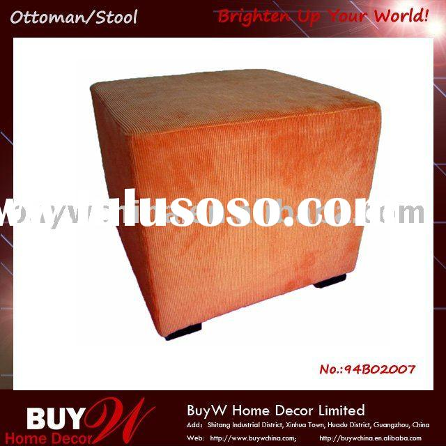 Corduroy Cube modern leather ottoman/footstool