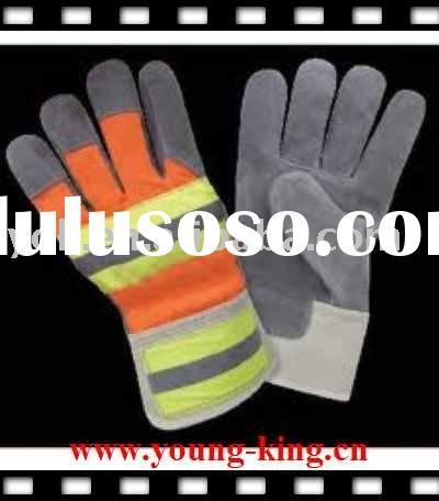 Cow split leather on palm/leather safety glove/index finger/patched palm/rubberized cuff/cow split,d