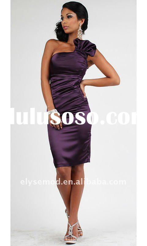 Custom Made 2011 Summer Sheath One Shoulder Grape Short Party Formal Homecoming Dress