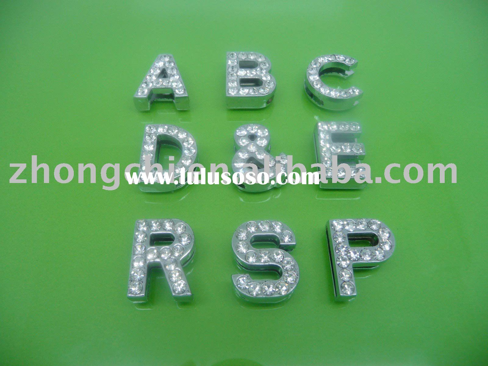 DIY 18mm slide letter charms with rhinestones