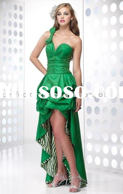 Dark green front short and long back evening dress NSE0233