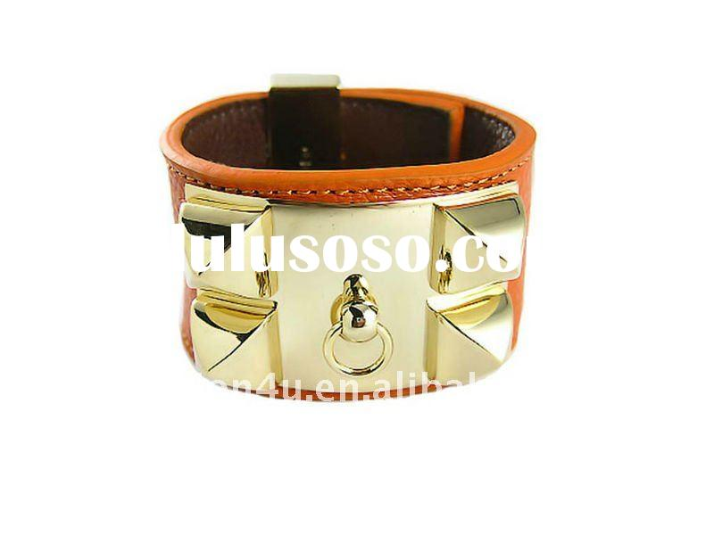 Design name brand ladies leather and alloy cuff bracelet