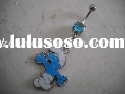 Double Gem Smurf 14g Belly Ring,navel ring ,navel belly ring,body jewelry