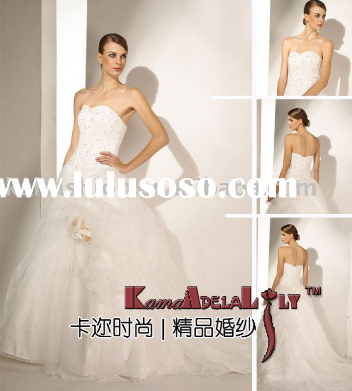 EB801-1884 brand new 2011 style unique and romantic wedding bridal dress decorate handwork flowers w
