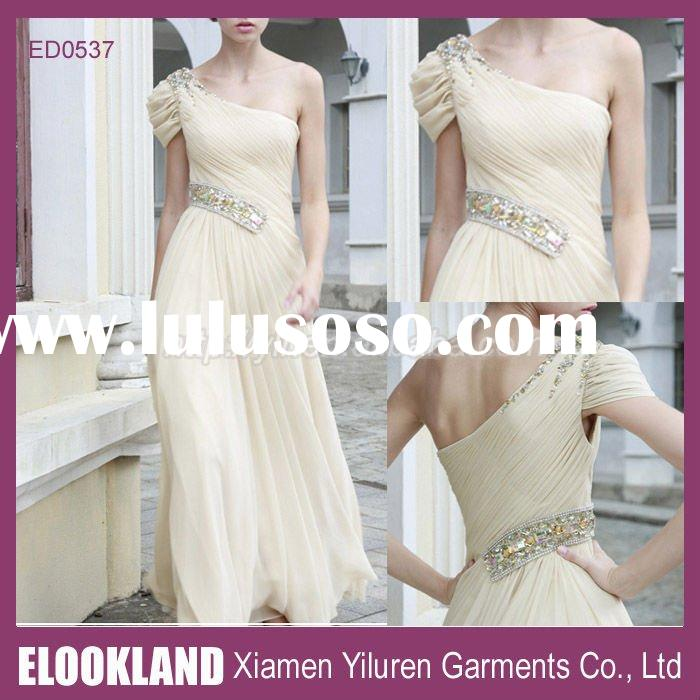 ED0537 - 2011 Latest Fashion One-shoulder Short Sleeve Chiffon Long Evening dresses Evening Gowns